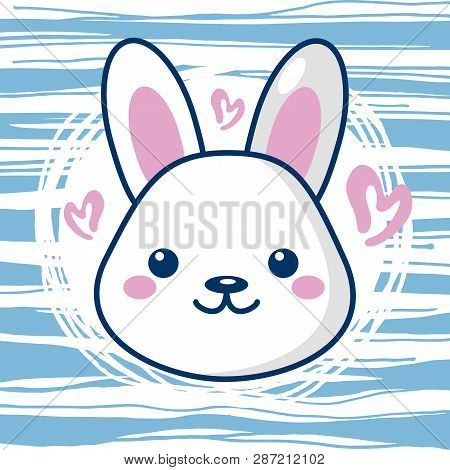 Little Cute Kawaii Easter Bunny With Hearts And Stripes. Beautiful Kawaii Vector Illustration For Gr
