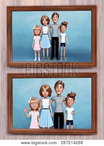 3d Rendering Of Two Framed Cartoon Family Portraits That Is Hanging On The Wall.