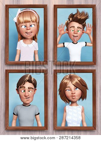 3d Rendering Of Four Framed Cartoon Family Portraits That Is Hanging On The Wall. Everyone In The Fa
