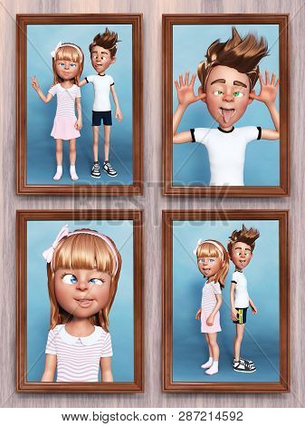 3d Rendering Of Four Framed Cartoon Family Portraits Of The Siblings That Is Hanging On The Wall. Bo