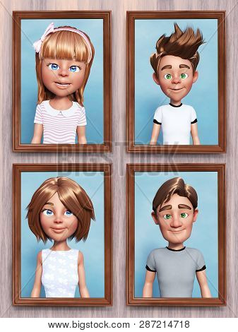 3d Rendering Of Four Framed Cartoon Family Portraits That Is Hanging On The Wall.