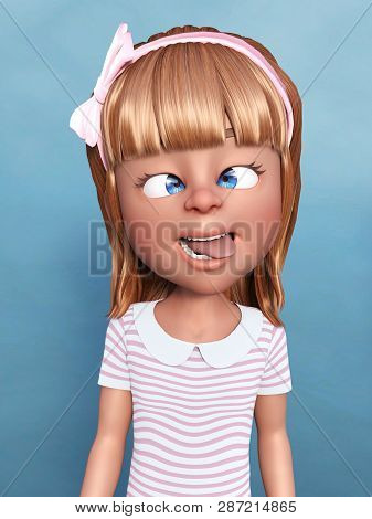 3d Rendering Of A Cartoon Girl Doing A Silly Face, Sticking Her Toungue Out And Crossing Her Eyes. B
