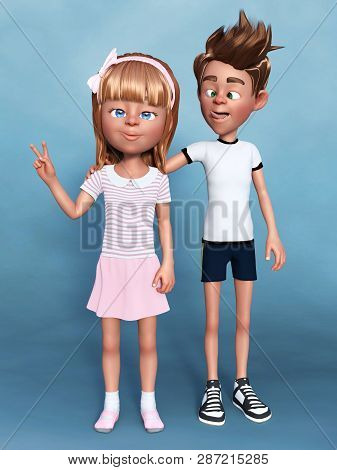 3d Rendering Of A Cartoon Boy Doing A Silly Face, Joking With His Sister. A Sibling Portrait. Blue B