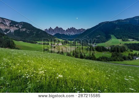 Iconic Dolomites  Mountain Landscape In Santa Maddalena, Funes Valley, Italy At Night