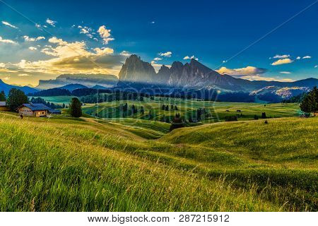 Beautiful Landscape Of Alpe Di Siusi - Seiser Alm In Dolomite, Italy In The Morning.