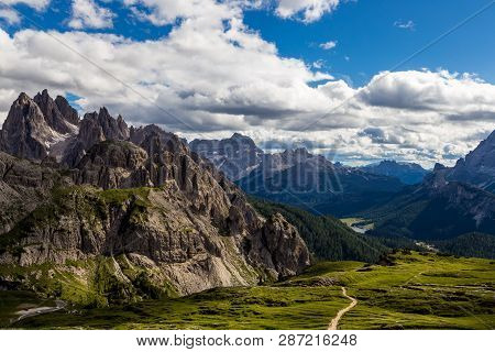 Majestic High Mountain View Of Dolomites Mountain When Hiking Aroud Tre Cime Di Lavaredo, Italy