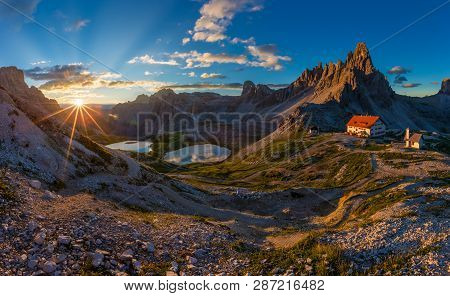 Beautiful Sunraise In Tre Cime Di Lavaredo National Park, Dolomites, Italy.