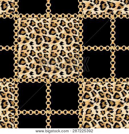 Luxury Fashion Fabric Seamless Pattern With Golden Chains And Leopard Skin Background. Wildlife Anim