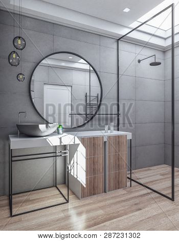 Contemporary Bathroom Interior With Sink And Mirror. Luxury Style Concept. 3d Rendering
