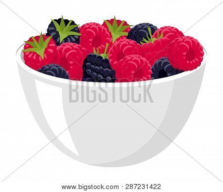 Raspberries And Blackberries. Big Pile Of Fresh Raspberries And Blackberries In The White Bowl. Rast
