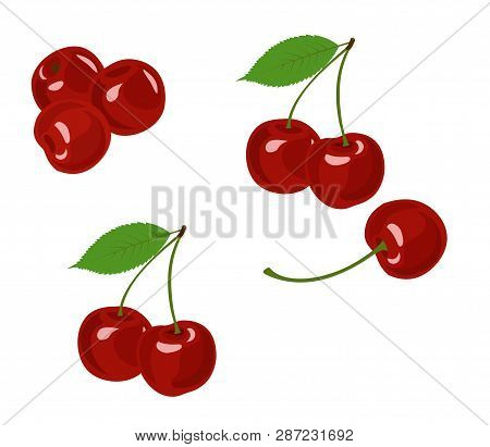 Cherry Raster Illustration. Cherry Collection On White Background.