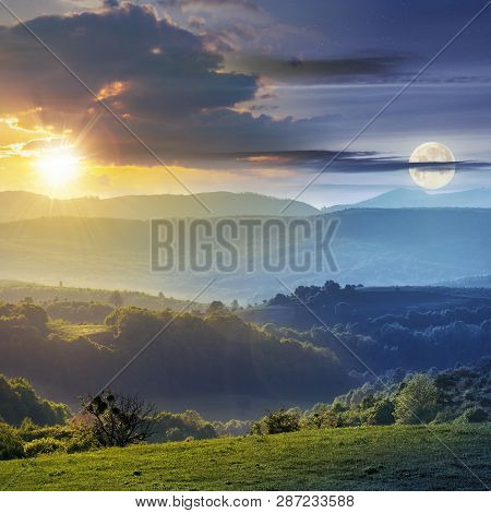 Day And Night Time Change Concept Above Romania Countryside With Green Rolling Hills Beneath A Moon