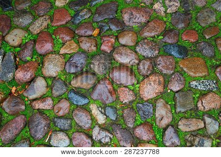 Wet Gravel On The Ground. Wet Road Of Stones. Natural Background.  Natural Paving On Road. View From