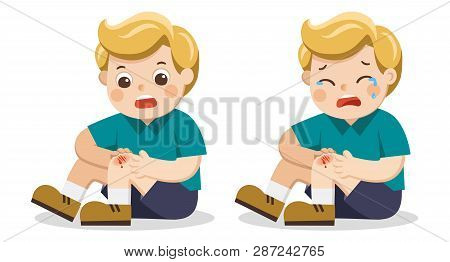A Boy Holding Painful Wounded Leg Knee Scratch With Blood Drips. Child Broken Knee. Bleeding Knee In