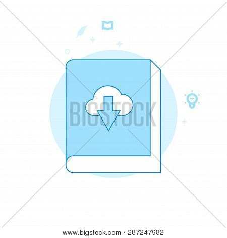Download Ebook Flat Vector Icon. Writing, Authors Or Education Related Illustration. Light Flat Styl