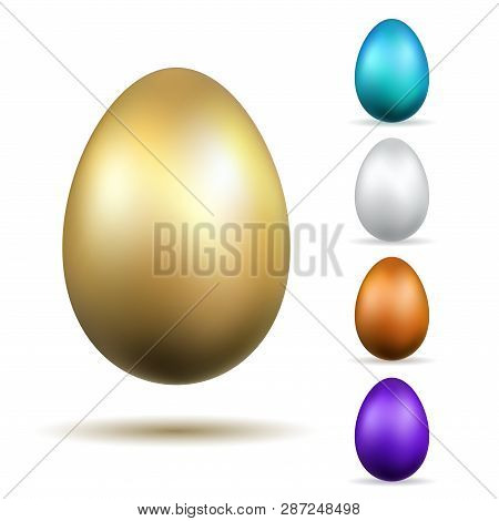 Easter Egg 3d Icons. Gold, Color Eggs Set Isolated White Background. Golden Design, Decoration Happy