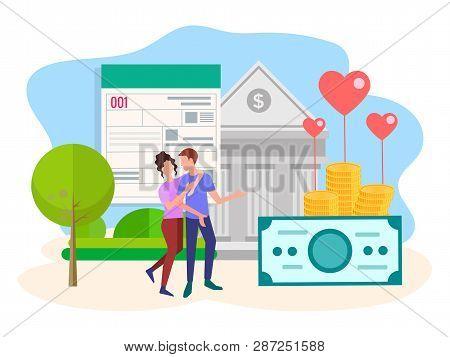 Vector Illustration, Bank Building, Bank Financing, Financial Services, Filling Credit Form. Loving