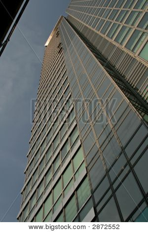Looking Up At Tall Corporate Office Building