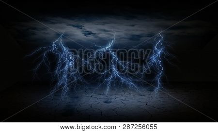 Abstract Dark Lightening Bolt With Ceiling Clouds And Cracked Dry Ground In A Dark Background