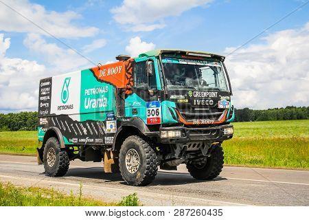 Chelyabinsk Region, Russia - July 10, 2017: Truck Iveco No. 306 Of The Astana Motorsports Team De Ro