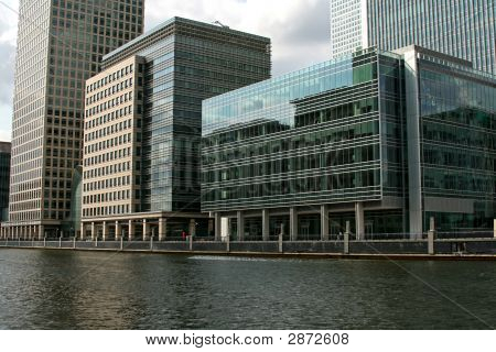 Looking Over Water At Modern Waterside Offices