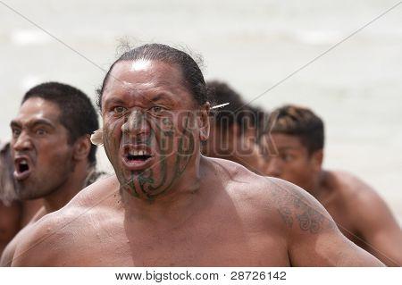Maori Warrior With Fake Tattoo