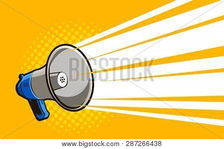 Loudspeaker, Megaphone. Advertising, Announcement, Attention Banner. Vector Illustration In Style Co