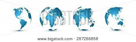 Earth Globe. World Map Set. Planet With Continents. Vector Illustration.