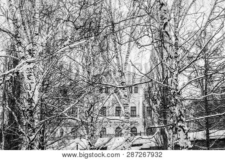 Classicism Building Behind The Winter Birch Grove Above The Ancient Stone Flyover