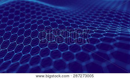 Big Data Visualization. Futuristic Hexagon Background. Big Data Technology Background. 3D Rendering.