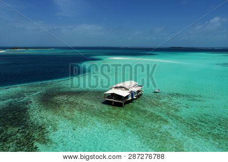 Caribbean Sea, Los Roques, Venezuela: Vacation On The Blue Sea And Paradisiac Beach. Vacation Travel