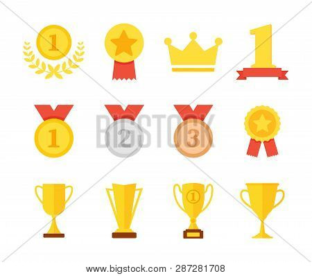 Award And Trophy Cup Icon Set. Golden Cups For Winners And Others Sport Trophy. Golden Reward. Win A