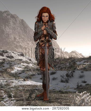 Savage Barbarian Swordswoman Beauty Poses In A Forsaken Landscape, 3d Render