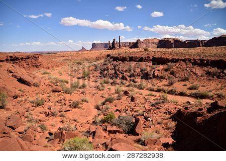 Desertic Landscape In Monument Valley In Utah