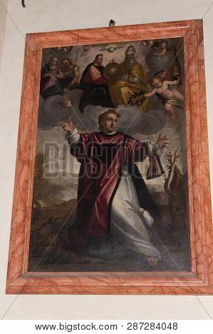 Italy, Verona - December 08 2017: The View Of The Altarpiece Saints Fermo And Rustico By Antonio Ele