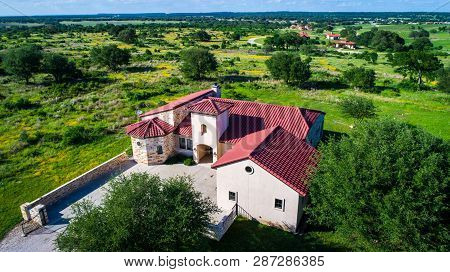 Luxury Living Inside Mansion Home Spanish Old Historic Architecture On Green Open Landscape In Centr
