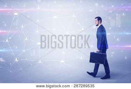 Linking people concept with lonely elegant businessman who walking somewhere