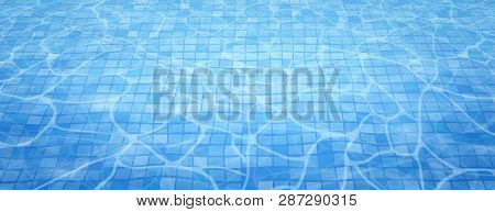 Swimming Pool Bottom Caustics Ripple And Flow With Waves Background. Summer Background. Texture Of W