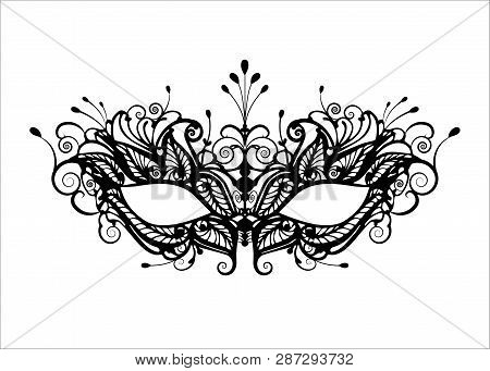 Carnival Mask Icon Black Silhouette Isolated On White Background. Laser Cut Mask With Venetian Embro