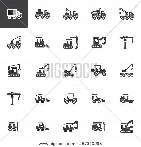 Construction Truck Vector Icons Set, Modern Solid Symbol Collection, Filled Style Pictogram Pack. Si