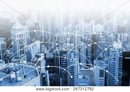 Modern Urban Skyline With High-speed Data And Internet Communication Network. Concept Of Cyber Netwo