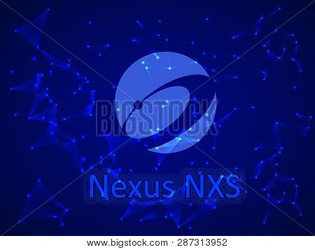 Banner, Poster Crypto Currency Symbol Nexus On Blue Background. Stock Illustration.