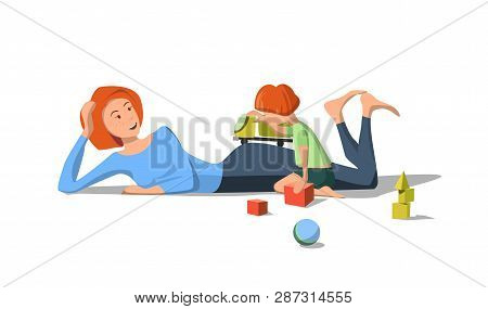 Vector Flat Mother Lies On Floor Playing With Small Child. Boy With Toy Car Hands On Floor Are Scatt
