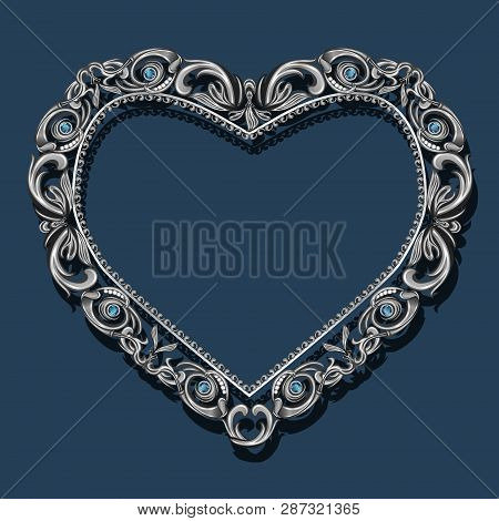 Frame In The Shape Of Heart With Blue Topaz On Blue Background