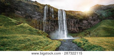 Magical Seljalandsfoss Waterfall In Iceland.