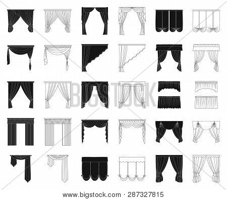 Different Kinds Of Curtains Black, Outline Icons In Set Collection For Design. Curtains And Lambrequ