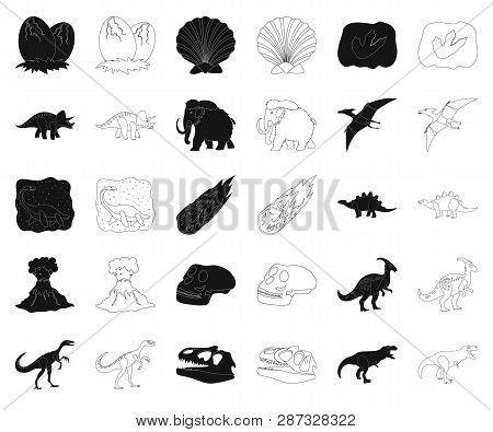 Different Dinosaurs Black, Outline Icons In Set Collection For Design. Prehistoric Animal Vector Sym
