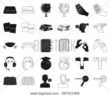 Translator and linguist black, outline icons in set collection for design. Interpreter vector symbol stock web illustration. poster