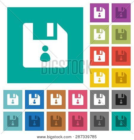File Owner Multi Colored Flat Icons On Plain Square Backgrounds. Included White And Darker Icon Vari