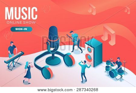 Isometric Music Radio Show 3d Illustration, Modern Concert Poster, Audio Blog Concept, Vector Landin